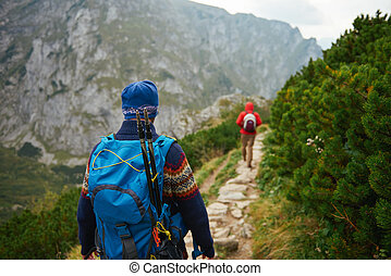 Hikers makng their way along a trail in the mountains -...