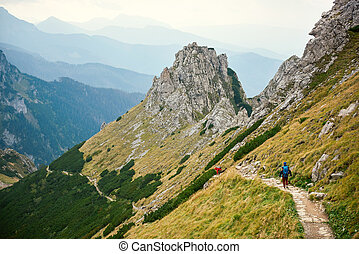 Two hikers walking along a trail in the mountains - Rearview...