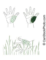 Hand Gesture with Turtle Painting on White Background