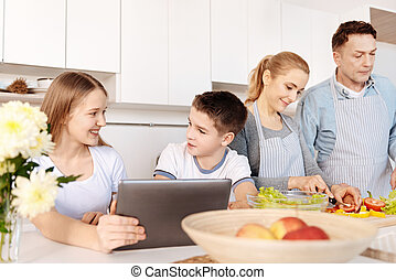 Cheerful siblings resting in the kitchen