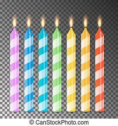 Burning 3D Realistic Dinner Candles Vector. Birthday Cake...