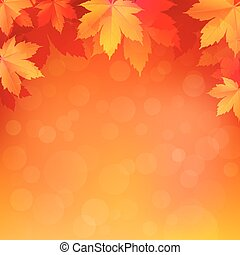 Autumn, fall background with bright golden maple leaves.