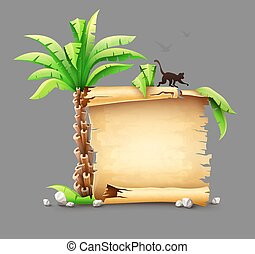 Old paper manuscript and palm with monkey silhouette