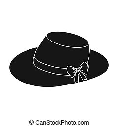 Red female hat with a bow. Summer hat for adult women.  Woman clothes single icon in black style bitmap symbol stock illustration.
