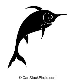 Marlin fish icon in black style isolated on white...