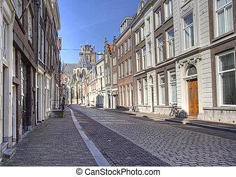 Dordrecht Street - Street in Dutch town of Dordrecht. Grote...