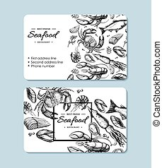 Seafood hand drawn vector business card. Crab, lobster, shrimp, oyster, mussel, caviar and squid.