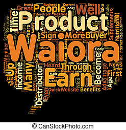 Why Become A Waiora Distributor text background wordcloud...