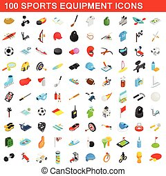 100 sports equipment icons set, isometric 3d style