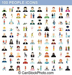 100 people icons set, flat style - 100 people icons set in...