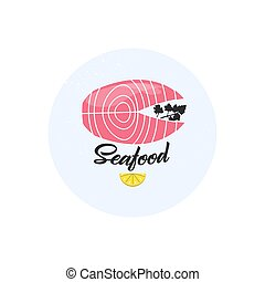 Seafood. Salmon icon. Vector illustration. Logotype for restaurant, cafe, shop, supermarket. pink and black.
