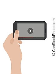 Hand holding mobile phone. Vector. Isolated on white. Video...