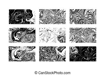 Marble textures. Black and white. Vector illustration. Black...