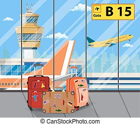 Travel suitcases inside of airport with a plane,