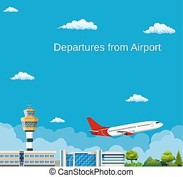 Airplane Takes Off from the Airport ,