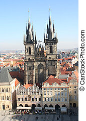 Tyn Cathedral - Famous Tyn Cathedral on Old Town square in...