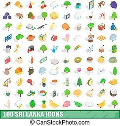 100 sri lanka icons set, isometric 3d style