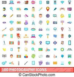 100 photography icons set, cartoon style - 100 photography...
