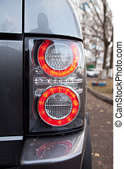 Black SUV Tail Lights with red circles.