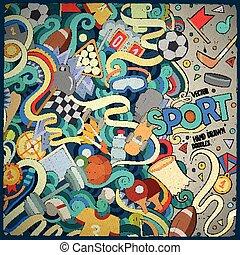 Cartoon cute doodles Sport frame - Cartoon cute doodles hand...