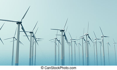 wind energy - turbines on a foggy day