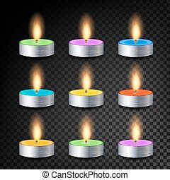 Burning 3D Realistic Dinner Candles Vector. Decorative...