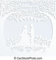 Wedding invitation card with silhouette bride and groom.