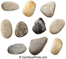 stone rock - stones and on white background. each one is in...