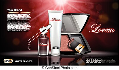 Digital vector red and silver skin care cream, eyedropper,...