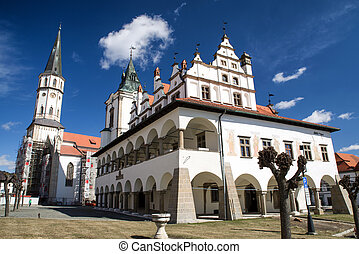 Historic town Levoca, Slovakia - St. James church and town...