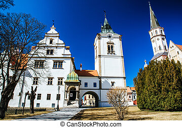 Town hall and St. James cathedral in town Levoca, Slovakia -...