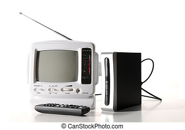 white tv and digital converter box - Small white portable tv...