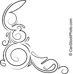 Ornamental floral corner with thin lines. Vector...