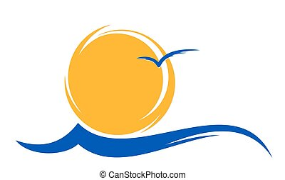 logo sun and sea. - Logo of the sun and the sea with a...
