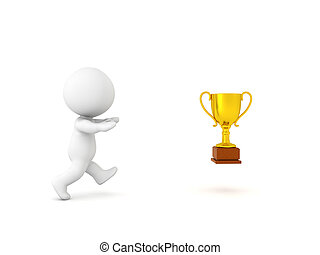 3D Character chasing success symbolized by a golden trophy....