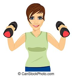 Young woman doing exercises with dumbbells