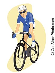 Road cyclist in blue jersey, isolated vector illustration....