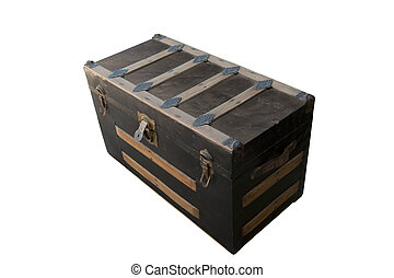 Old, beat-up closed trunk - Antique worn trunk with the lid...