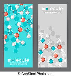 Banners with molecular structure. Abstract molecules in flat style