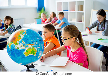 Geography lesson at school