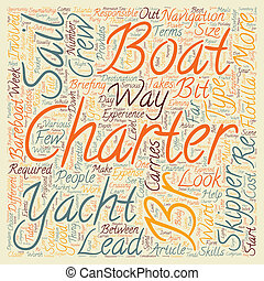 Yacht Charter text background wordcloud concept
