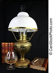 Antique Still Life Lamp and Books - A still life of antique...