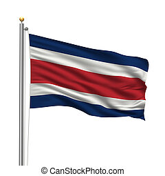 Flag of Costa Rica with flag pole waving in the wind over...