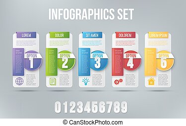 5 steps process infographics card vector design - Colored 5...