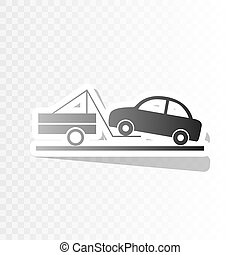 Tow truck sign. Vector. New year blackish icon on transparent background with transition.