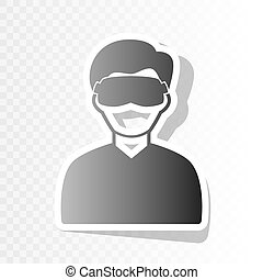 Man with sleeping mask sign. Vector. New year blackish icon...