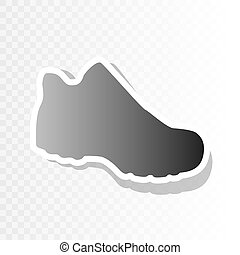 Boot sign. Vector. New year blackish icon on transparent...