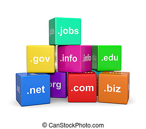 Internet Domain Names - Stack of Internet Domain Names Cubes...