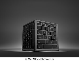 Data Center Concept - Cube Shape with Computer Keyboard on...