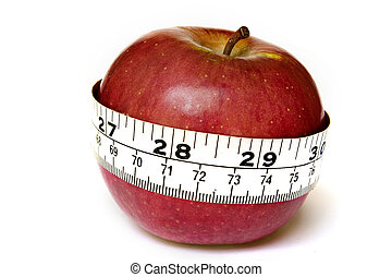 A stock photograph of an apple with a measuring tape around...